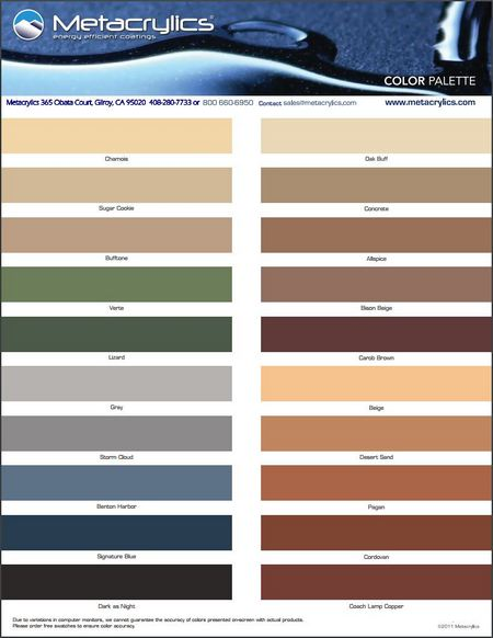Metacrylics color chart